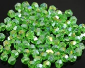 75% OFF SPRING CLEARANCE 100 pieces of 4mm Light Green Bicone Ab Crystal Beads