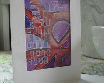 Abstract ATC greeting card OOAK ACEO