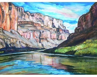 Grand Canyon Below The Rim - 11x15 original painting landscape watercolor ooak from GHART,, Grand Canyon  Arizona, Original, Western River