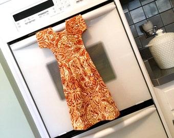 Paisley Pattern Kitchen Dish Towel / Tea Towel Dress in Golden Yellow, Burnt Orange and White