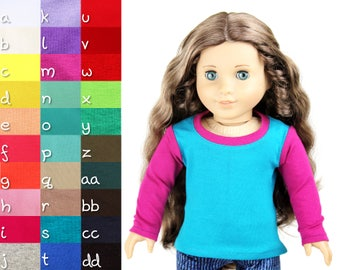 Fits like American Girl Doll Clothes - Colorblock Long Sleeve Tee, You Choose Colors and Sleeve Length
