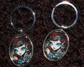 Steampunk Owl Angel Glass Silver Keychain Jewels Fairy Myka Jelina Art