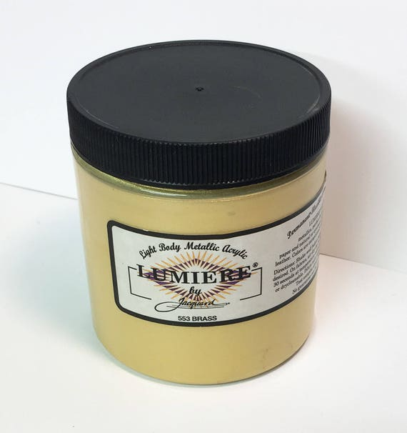 Lumiere Brass 553 - 8 oz Size - Brilliant Light Body Metallic Acrylic Paint - Art Craft Fabric Canvas Wood Paper Metal Gold Silver Pearl