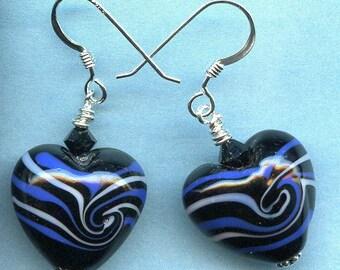 Black Swirly Hearts Sterling Silver Earrings