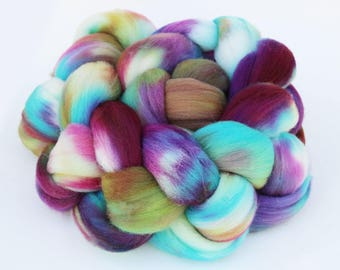 """Targhee Wool Combed Top Hand-dyed Spinning Fiber, 4 oz, """"Flecked"""""""