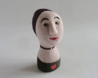 Miniature needle felted milliners mannequin head, 'Amelia' by Gretel Parker