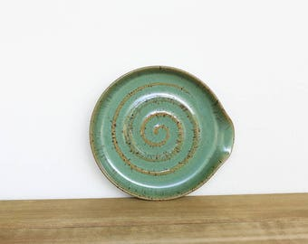 Spoon Rest Stoneware Ceramic in Soft Sage Green Glaze