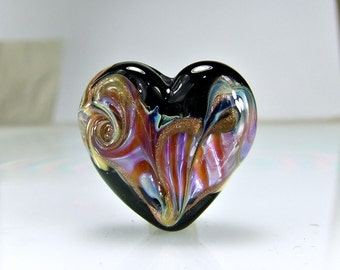 Black Pink Lampwork Heart Focal Bead SRA BEADS