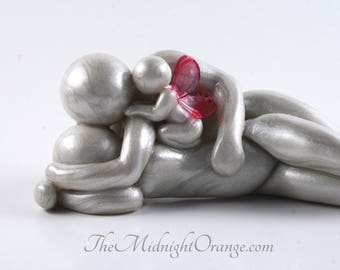 Bereavement Keepsake for Baby Loss Families - handmade memorial clay sculpture with mother father and baby - you choose wing color and style