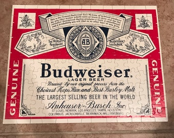 Budweiser Beer Label Jigsaw Puzzle 130 Pieces VTG