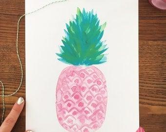 Pineapple Print. Pineapple Decor. Watercolor Pineapple. 8 x 10 Art Print. Kitchen Decor. Fruit Painting. Pink Pineapple. Tropical Print