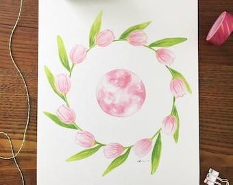 Pink Moon Art. Tulip Art. Moon Art Print. Watercolor Tulips. Watercolor Moon. Lunar Art. 8x10 Art Print. Gift Under 20. Ready to Frame Art.