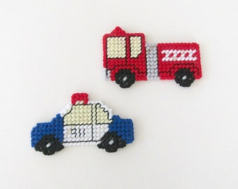 Fire Truck and Police Car Magnets - EMS Vehicles Playtime Magnets - Refrigerator or Magnetic Board Magnets. Novelty Kitchen Magnets.
