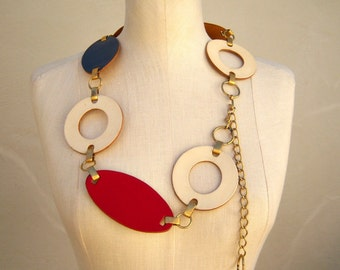 60s 70s leather chain belt / hippie mod go-go belt / red white blue / brass chain