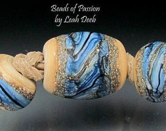 Handmade BHB Glass Beads of Passion Leah Deeb - 3pc Rich Denim Ivory Organic