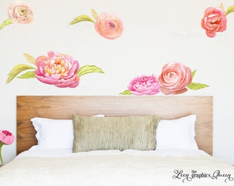 Peonies and Ranunculus Watercolor Floral Wall Decals - Nursery Girl Room Wall Art - Ecofriendly - Child Friendly - Peony Flower Room Decor