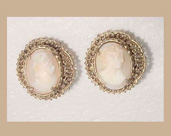 Cameos - Lovely Cameo Earrings -Openwork Mounting - Clip On Type - Nice Size