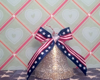 Liberty bell red white blue and silver vintage inspired Memorial Day july 4th ornament 4th of july decor