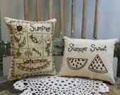 RESERVED for LORI RANDOLPH-Summer Decorative Pillows-Watermelon-Sunflowers-Herbs-Bumble Bee-Bird House
