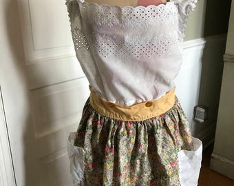 Vintage White Eyelet and Rick Rack and Floral Print Full Apron