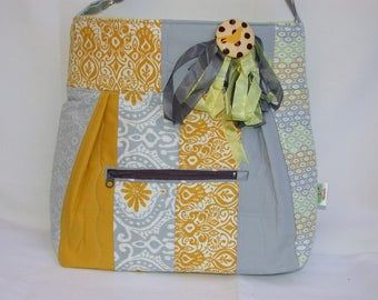 Gray -yellow-Retro-Patchwork Shoulder Bag-Messenger-School bag-knitting-diaper bag