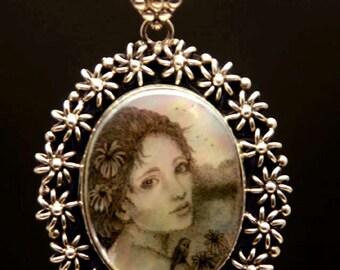 Original Scrimshaw Goddess bird pendant sterling silver  MOP