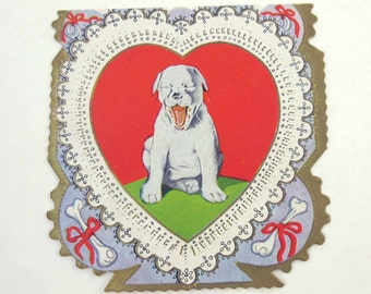 Vintage 1920s Fancy Antique Valentine Greeting Card with Little Dog Yawning and Bones by Carrington