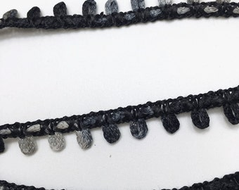 6 yards of Tiny Loop Trim 1 cm 3/8 inch - Black and Gray