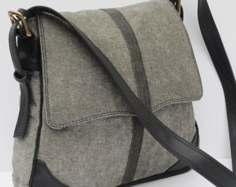 WAXED DENIM SADDLEBAG Grey on Gray with Leather