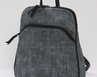 WAXED DENIM BACKPACK Light Stone Washed Blue with Black Leather