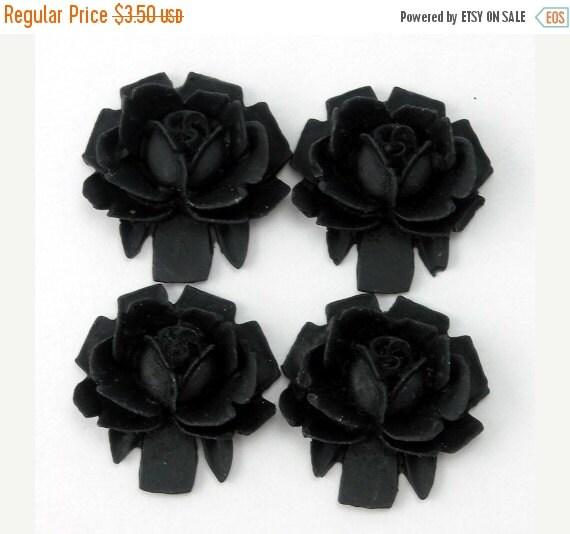 50% Off Sale 4 Matte Black Rose Cabochons 18mm PC017