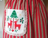 Vintage Christmas Apron 1960's Mid Century Red Green White Half Apron Baking Cookies Apron Xmas Apron Holiday Party Hostess Apron Retro Deer