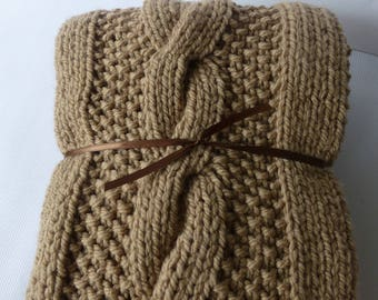 bulky cable knit blanket light brown cable knit - Cable Knit Throw