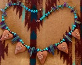 Teresa's Custom Mica Heart Turquoise Kyanite Amethyst Necklace