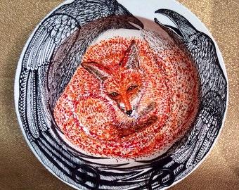 Trickster Raven and Fox Big Ceramic Bowl Handpainted Original from Taos NM