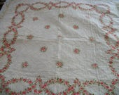 reversible tablecloth, vintage quilted pink roses, cotton fringe, shabby cottage chic, square card table bridge cloth, wreaths of roses
