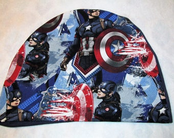 Kid's  Captain America Chemo Hat Cancer Cap, Alopecia, Sleep Cap
