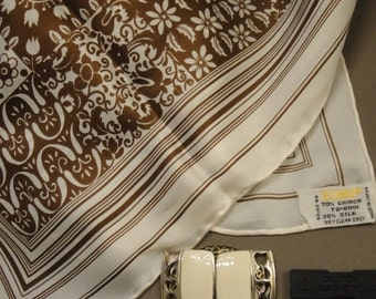 Ho Ho Holiday SALE Vintage Echo 27 inch Square Scarf, Unique mix of Brown and Cream in classic quilt design with floral theme, Bonus magneti