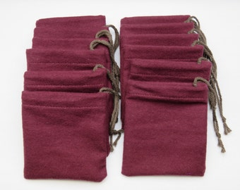 Set of 12, Burgandy Flannel Cotton Hoo Doo,  Mojo Bags, Jewelry Pouches, Handmade