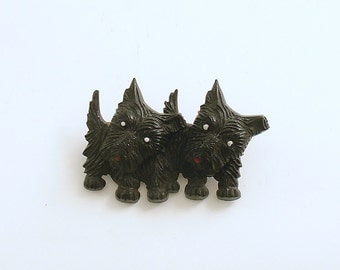 Vintage Brooch Scotties Scottish Terrier Pin Up Pups