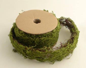 Green Wired Moss Ribbon Craft Fairy Garden Decor