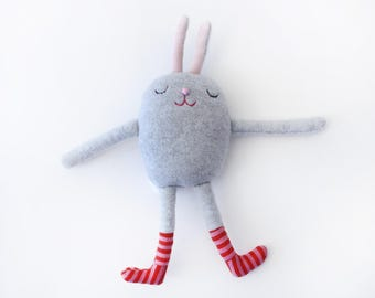 "Stuffed little Bunny with Striped Socks Cotton Monster ""Harris"""