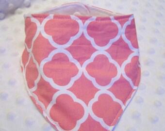 Pink/Melon Lattice Design Bandana Baby Bib -- Drooler Bib --