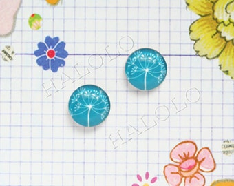 10pcs handmade teal parsley round clear glass dome cabochons 12mm (12-0695)