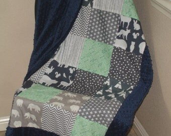 This is Camping Minky Blanket with Border You Choose Size and Minky Color  MADE TO ORDER No Batting