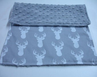 Deer Head in Gray Minky Baby Burp Cloth 11 x 15 READY TO SHIP