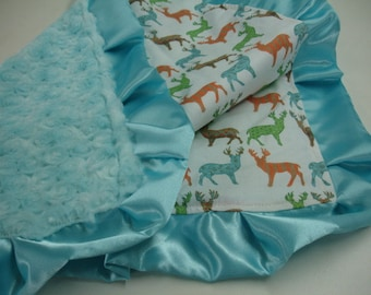 Meadow Deer Multi with Aqua Minky Rose Cuddle Lovey 24 X 25 READY TO SHIP On Sale