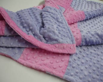 Lavender and Hot Pink Double Sided Minky Blanket 23 x 37 READY TO SHIP