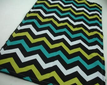 Chevron Lagoon Baby Minky Burp Cloth 12 x 20 READY TO SHIP On Sale