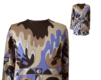 Vintage Psychedelic Top | 1960s Mod Abstract Print Knit Women's Pullover Top